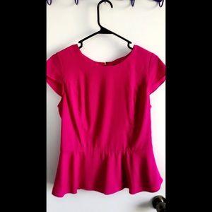 Express Hot Pink with Gold Zipper Blouse